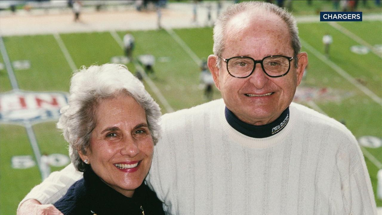 Faye Spanos, 92, is shown in an undated photo with her husband, owner of the Los Angeles Chargers, Alex Spanos.