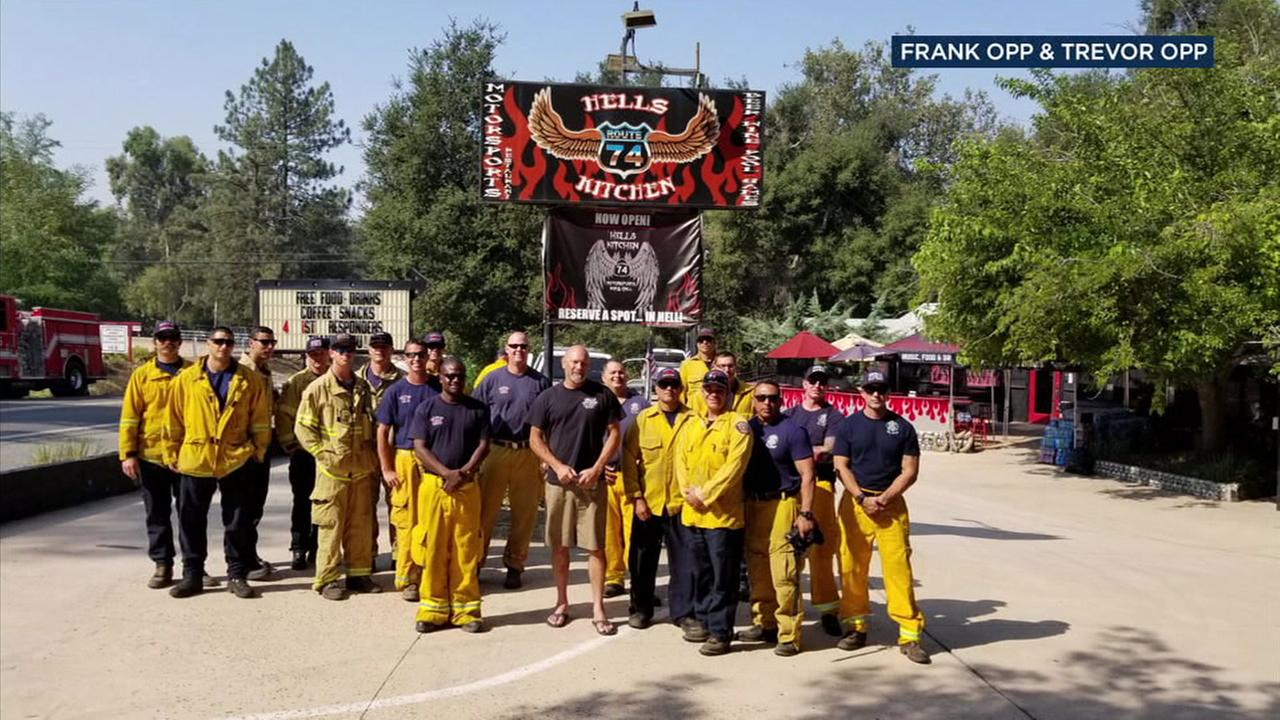 Hells Kitchen Motorsports Bar and Grill owner Frank Opp has been serving food and drinks to the firefighters since the Holy Fire began in the Cleveland National Forest.
