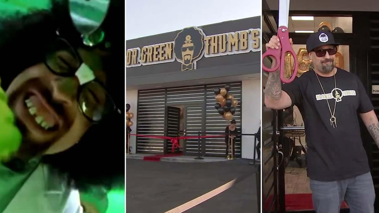 Cypress Hills B-Real is seen in a music video, left, and in front of his Dr. Greenthumbs marijuana dispensary in Sylmar, right.