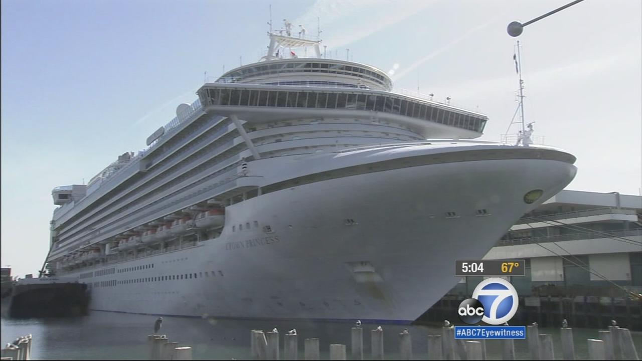 The Crown Princess cruise ship is seen after it arrived in San Pedro with 172 people ill from norovirus on Sunday, Nov. 16, 2014.