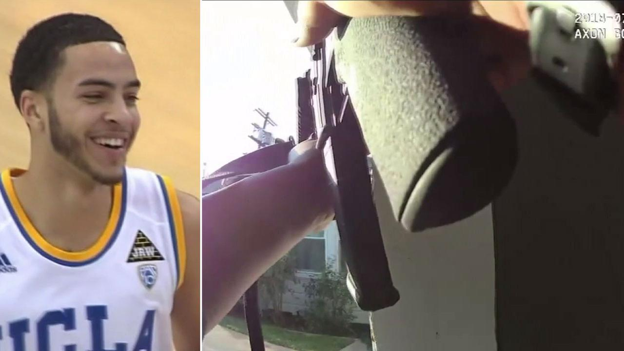 A stock image of Tyler Honeycutt, 27, is shown alongside LAPD body camera footage from the tense barricade he engaged in with officers in Sherman Oaks in July 2018.