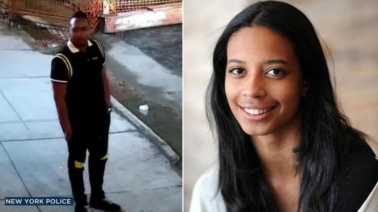 An undated photo of reality TV producer and star Lyric McHenry, who died in New York. Alongside is a surveillance photo of a man wanted for questioning in her death.