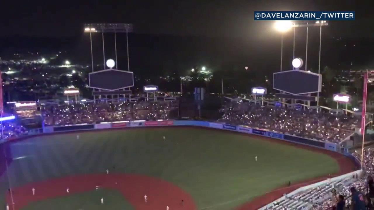 Lights are out at Dodger Stadium during a power outage on Saturday, Aug. 25, 2018.