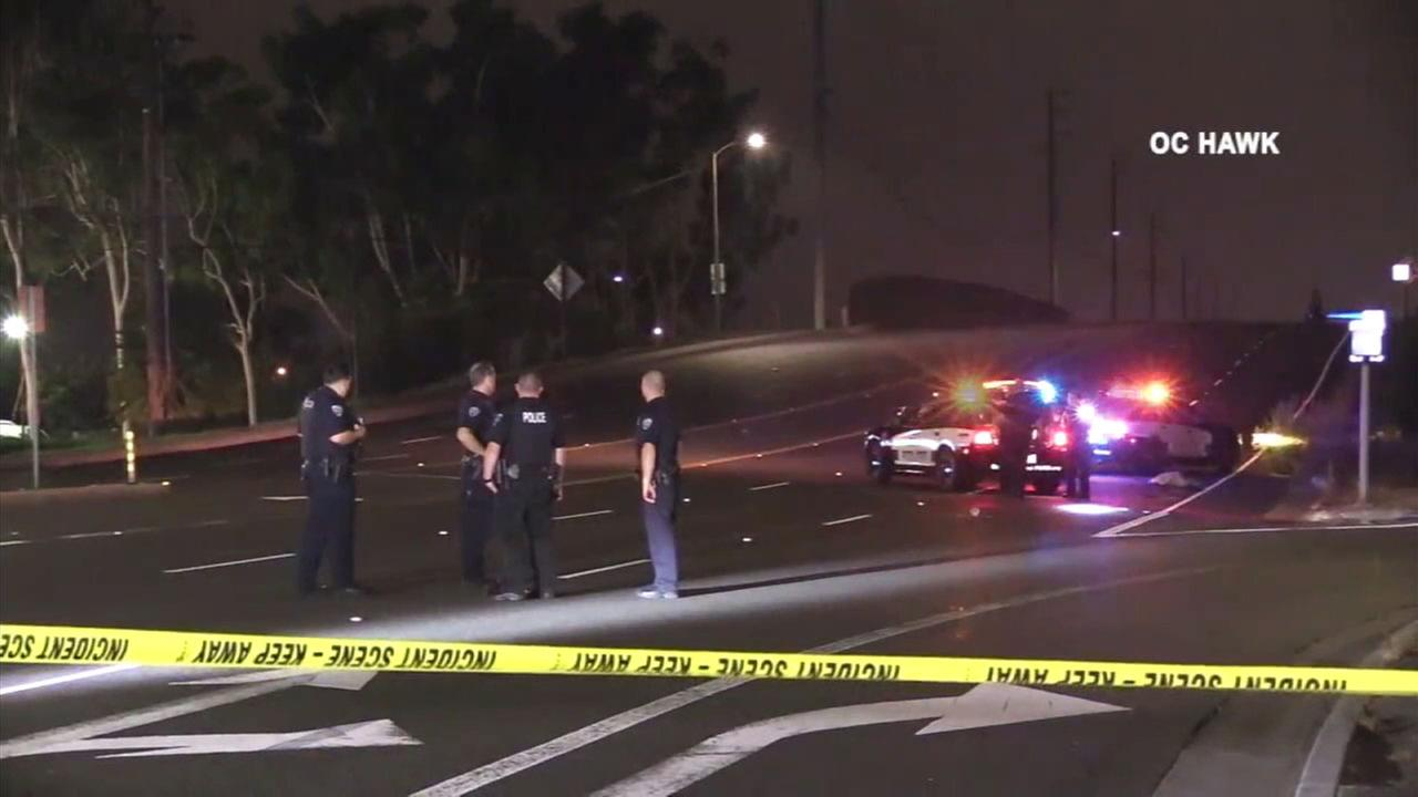 Authorities cordoned off the scene of a hit-and-run after a womans mangled body was found on the road in Fountain Valley.
