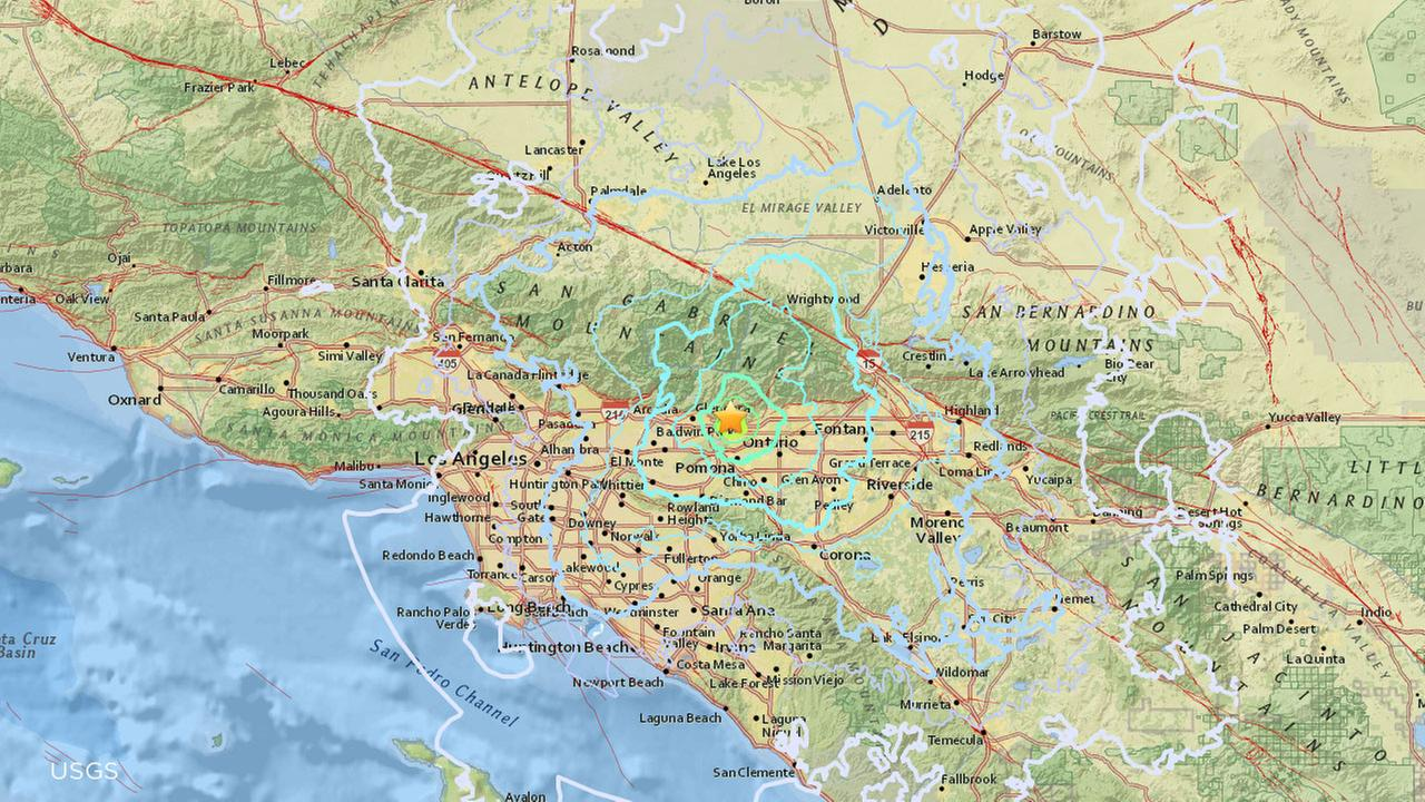 A USGS map shows a 4.4-magnitude earthquake that was centered near La Verne on Tuesday, Aug. 28, 2018.