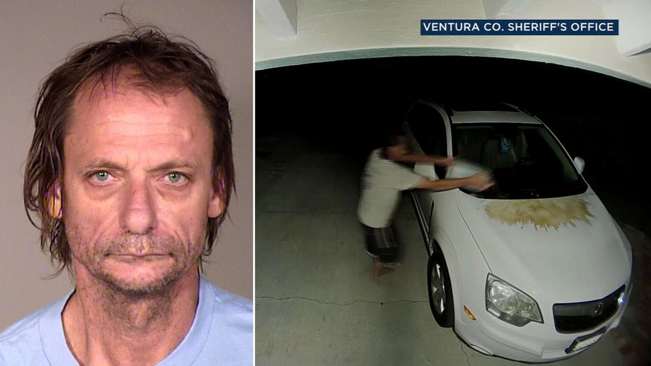James Eddy Pierson, 55, of Thousand Oaks, is shown in a mugshot and alongside surveillance video of him allegedly pouring urine on his neighbors car.