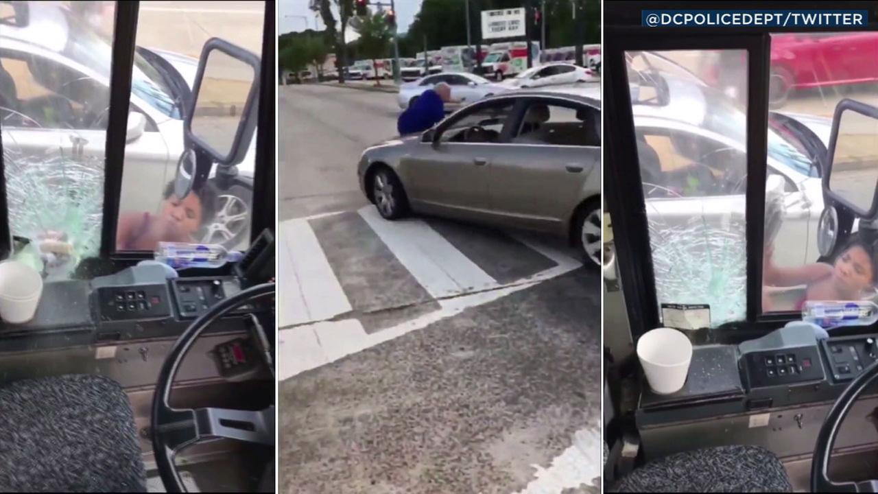 Images from a cellphone video shows a road rage suspect, Mariana Silver, attacking a bus and then driving off with the apparent bus driver on her hood in Washington D.C.
