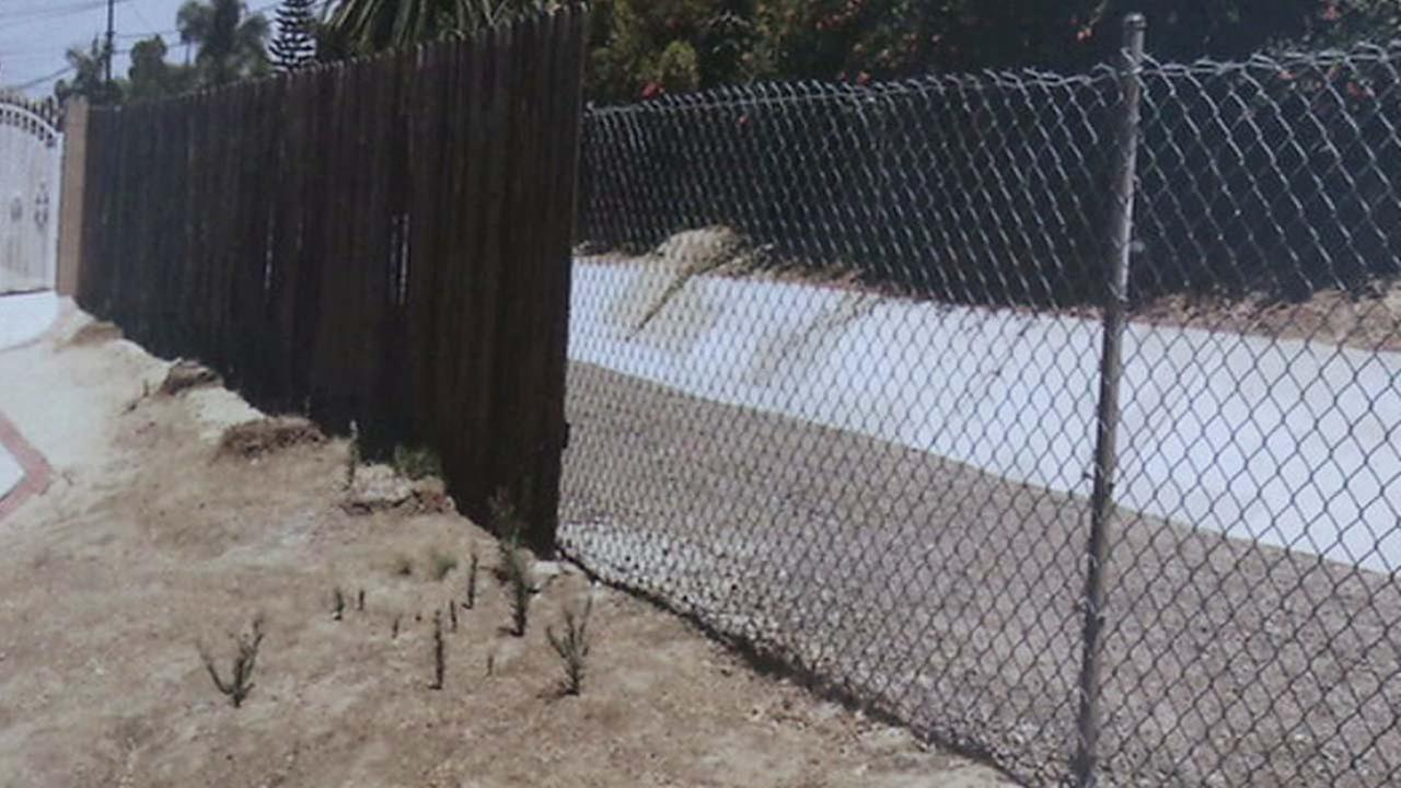 Orange County authorities showed this image of a fence as they described a plan to fence off flood control channels from the homeless.