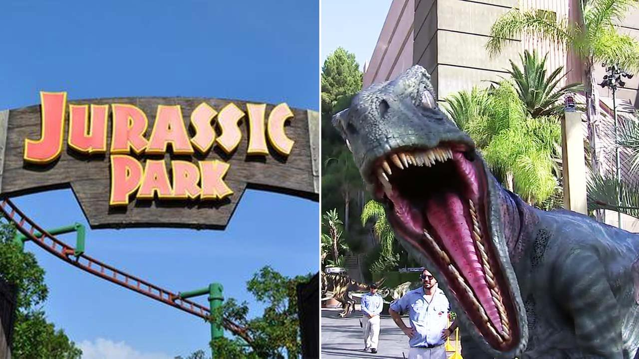 Images from the Jurassic Park ride at Universal Studios.