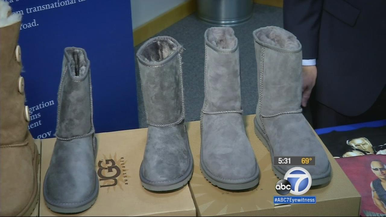 Counterfeit Ugg boots (left). Authentic Ugg boots (right).