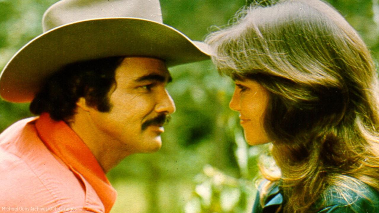 Actors Burt Reynolds and Sally Field in the film Smokey and the Bandit.