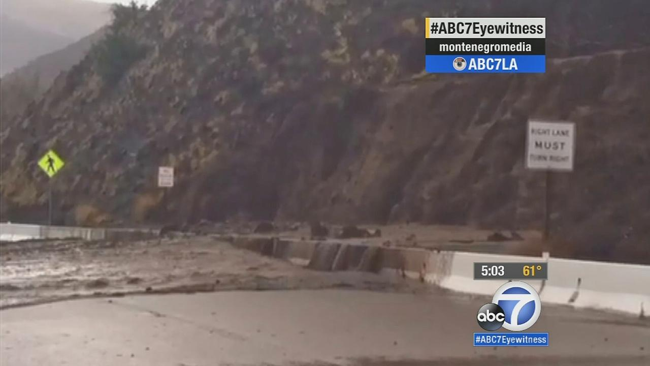 A still from footage shows debris flow from rain in Ventura County on Sunday, Nov. 30, 2014.