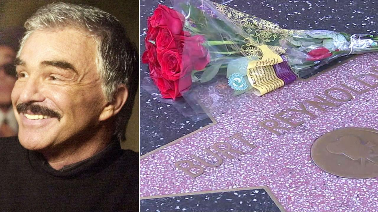 Burt Reynolds talks about The Crew from the Miami Beach Hotel, Aug. 20, 2000 (left). Flowers are placed on the actors Hollywood Walk of Fame star on Sept. 6, 2018 (right).