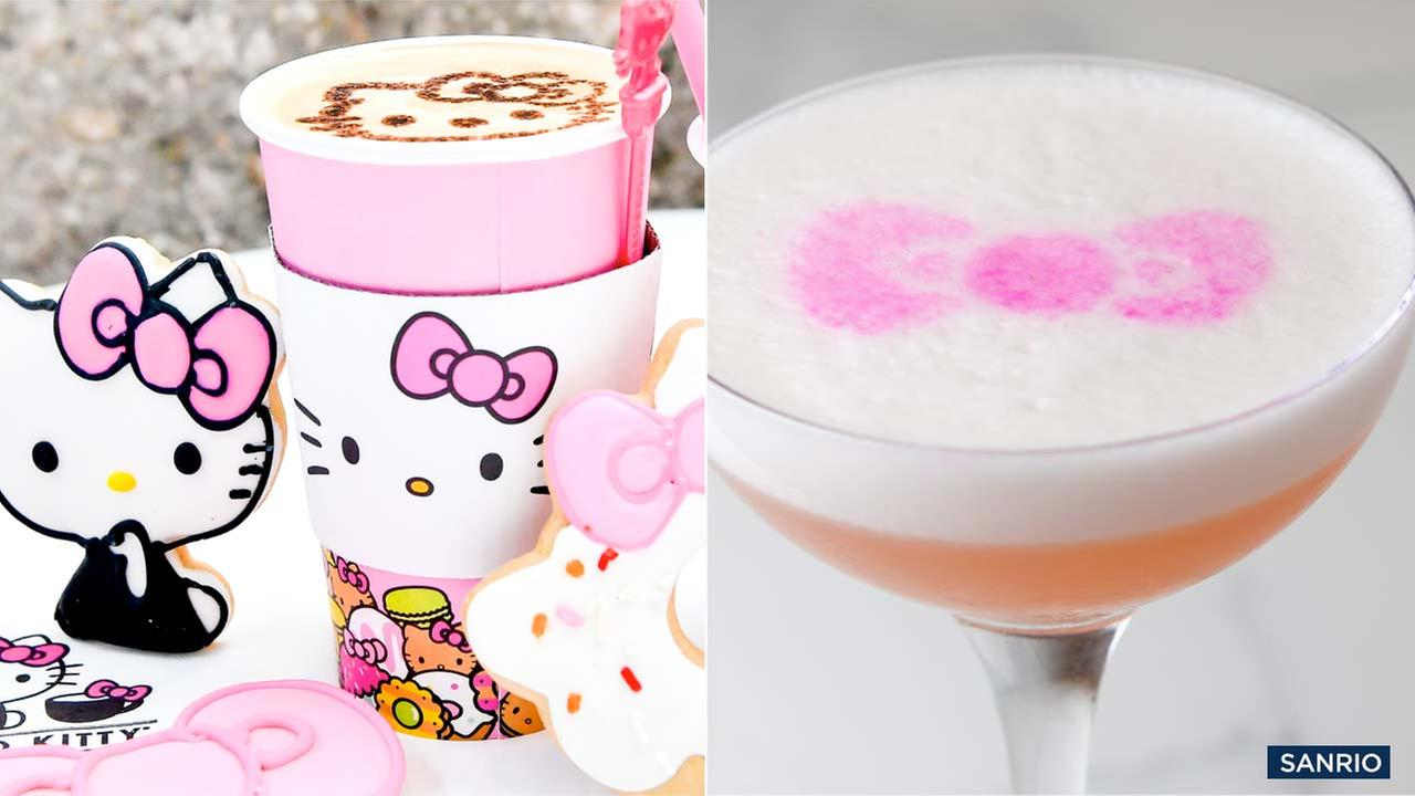 Sweets and drinks at the Hello Kitty Grand Cafe in Irvine.