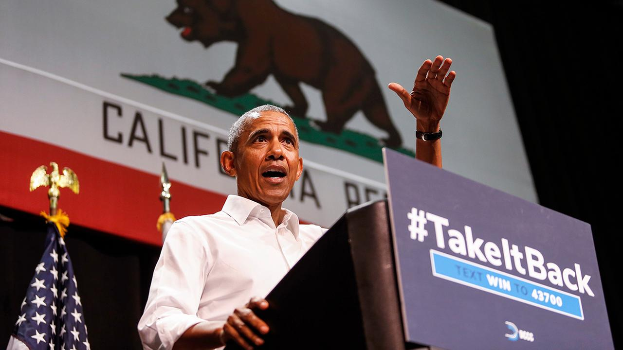 Former President Barack Obama speaks during his midterm campaign in Orange County in support of California congressional candidates, Saturday, Sept. 8, 2018, in Anaheim.