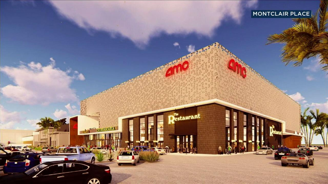 A rendering shows what the AMC 12-screen, dine-in theater at the Montclair Place shopping mall will look like once its completed.
