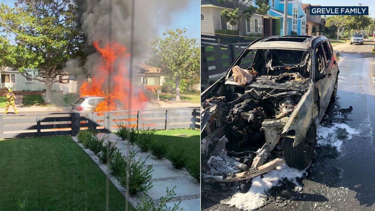A split image shows a 2017 BMW on fire and the charred remains of the vehicle. The fire happened in front of a Los Angeles home on Monday, Sept. 10, 2018.
