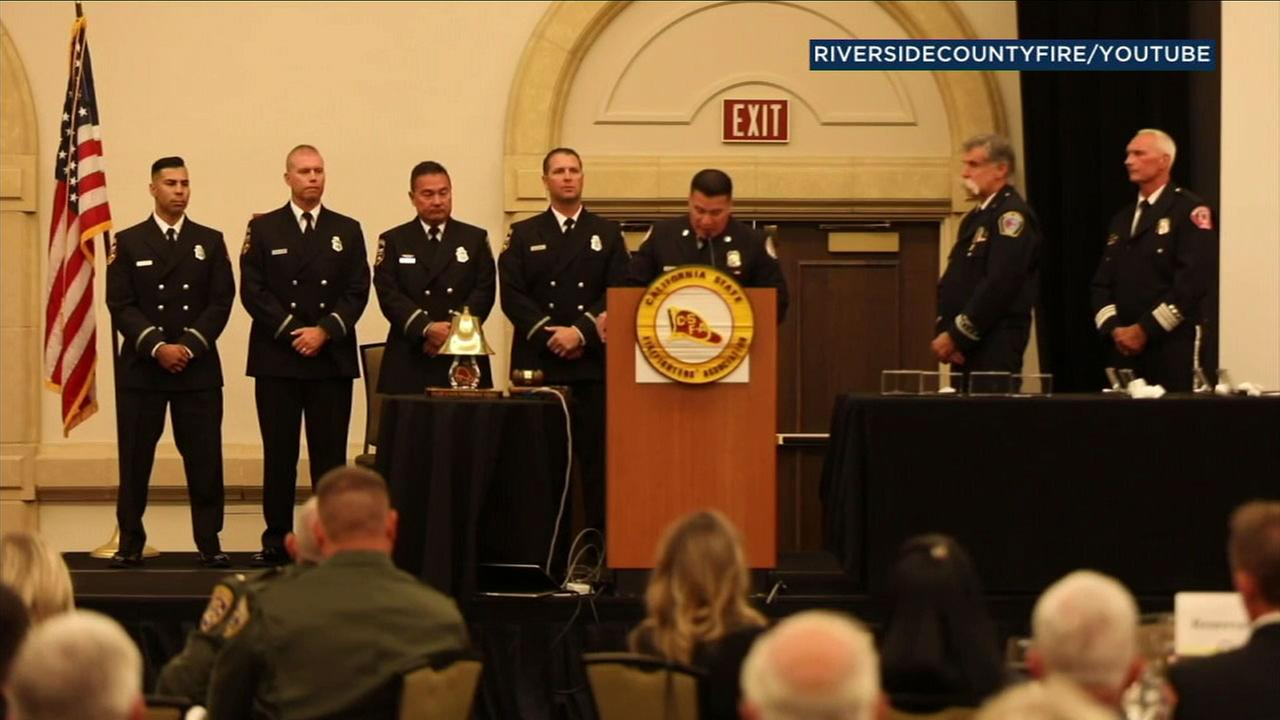 Four Cal Fire helicopter crew members were honored in Riverside County for a daring rescue off Mount San Jacinto.