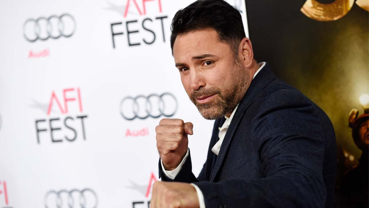 Former professional boxer Oscar De La Hoya poses at a gala screening of the film The 33 during the 2015 AFI Fest at the TCL Chinese Theatre on Monday, Nov. 9, 2015, in L.A.