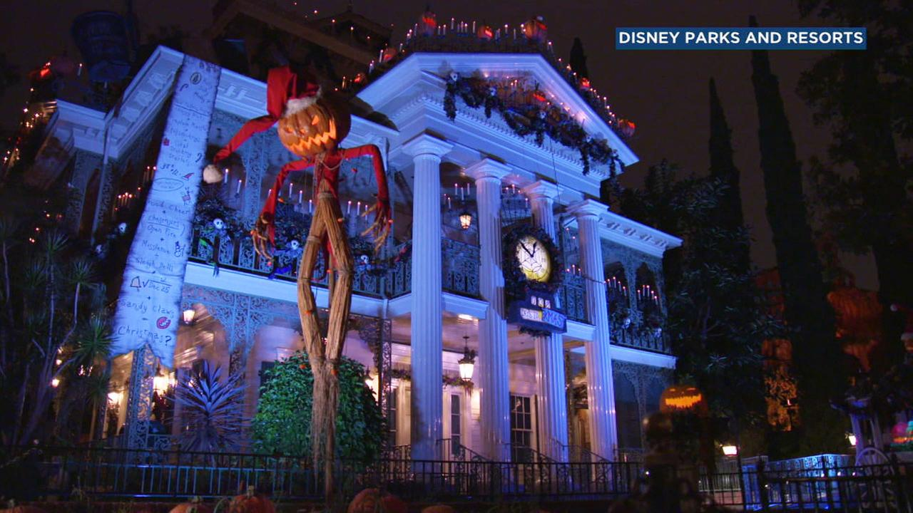 A file photo shows the Haunted Mansion decked out for Halloween Time at Disneyland.