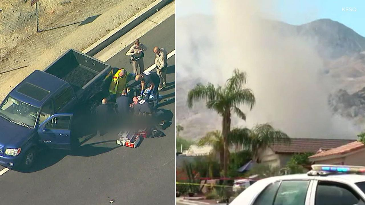 Images show a house fire in La Quinta amid a homicide investigation there, while a person of interest in the case shoots himself at the end a chase in Ontario on Sept. 13, 2018.