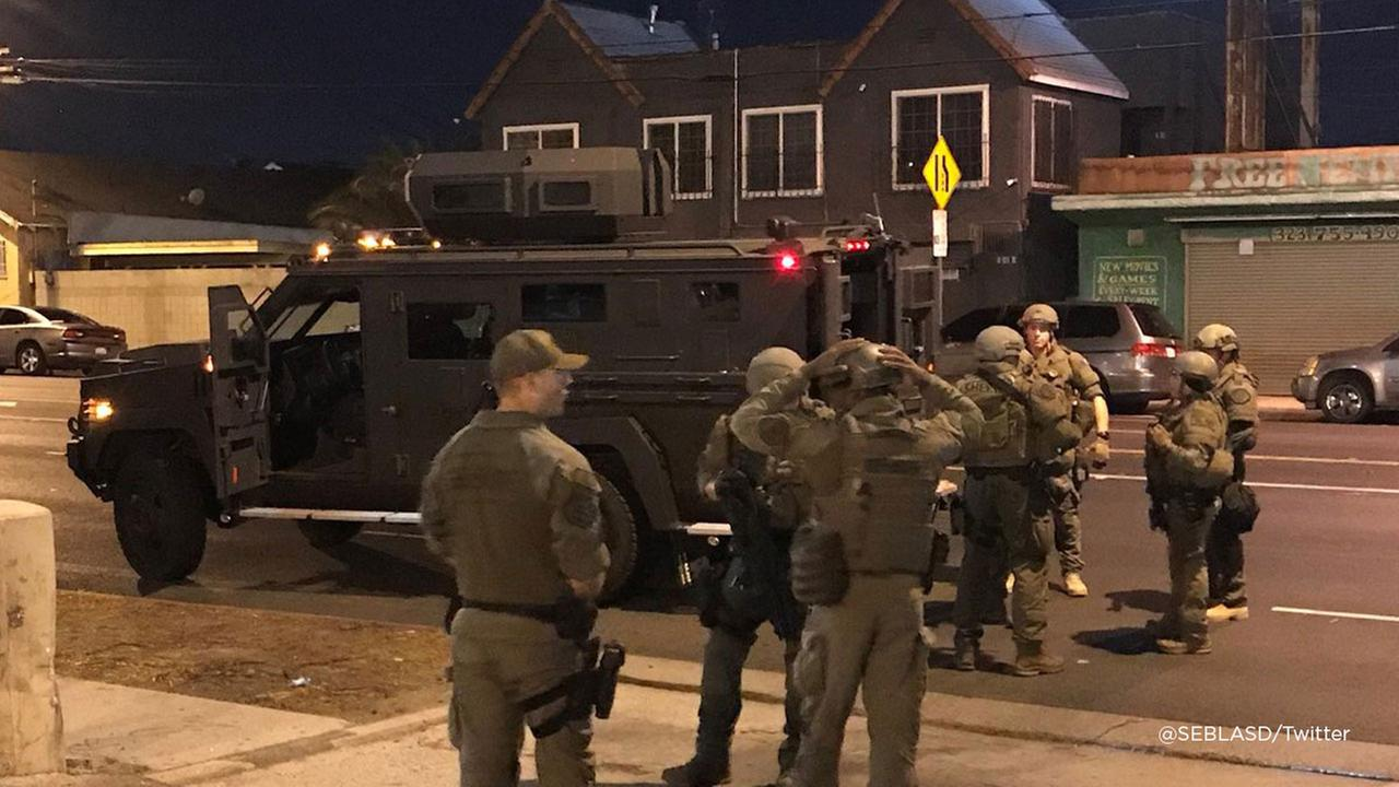 LASD SEB officers at the scene of a barricade situation in Westmont on Monday, Sept. 17, 2018.