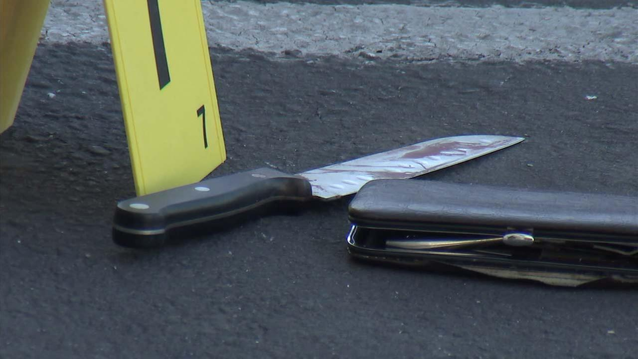 A knife is seen next to an evidence marker in El Monte, where a man was fatally stabbed on Sunday, Sept. 16, 2018.
