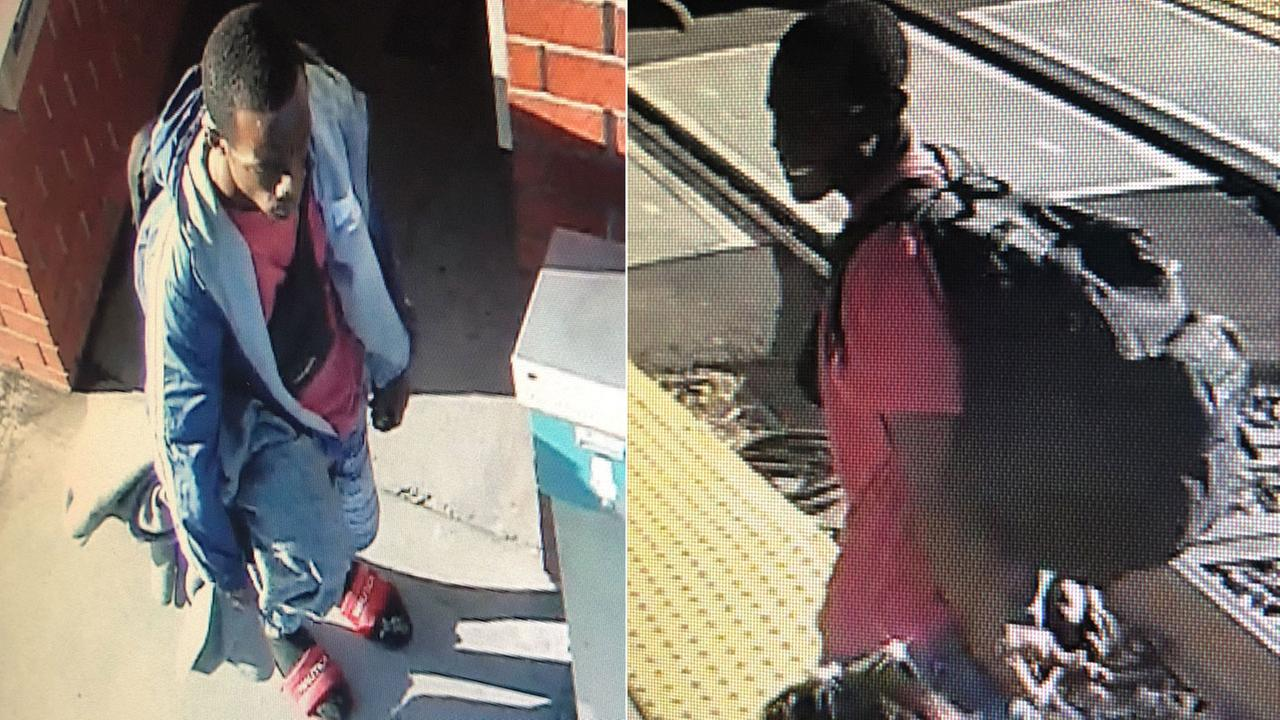 A man suspected of stabbing another man in the neck at a Riverside Metrolink train station is shown in surveillance footage.
