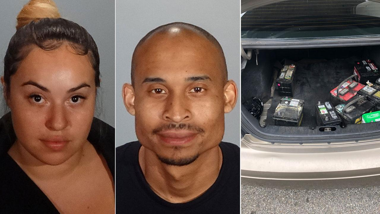 Kimberly Hernandez, 22, and Elvie Porter, 30, are shown in mugshots alongside batteries they are suspected of stealing that was in the trunk of a car they were in.