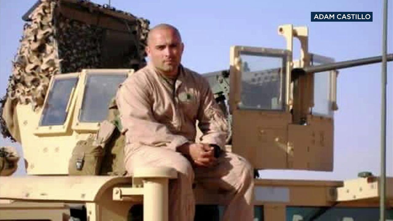 Adam Castillo, a Marine veteran, is shown in a photo.