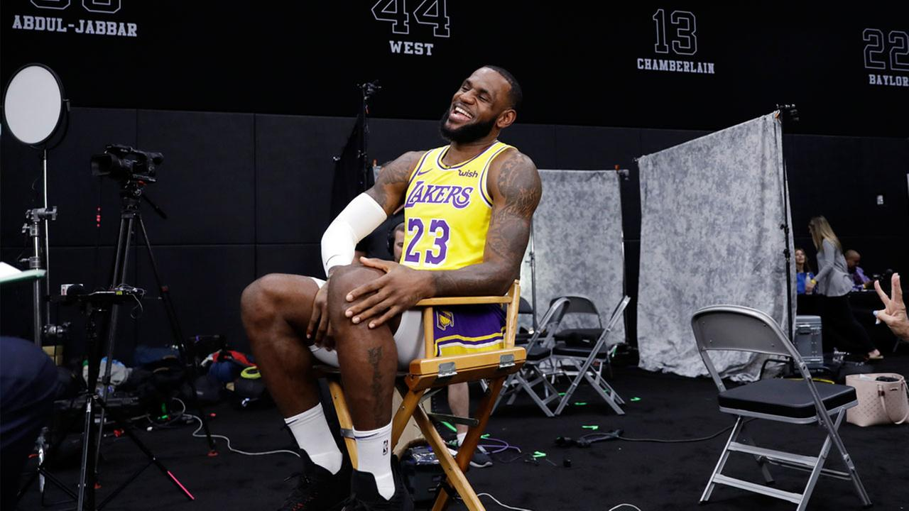 Lakers LeBron James (23) smiles as he conducts an interview during media day at the NBA basketball teams practice facility Monday, Sept. 24, 2018, in El Segundo, Calif.