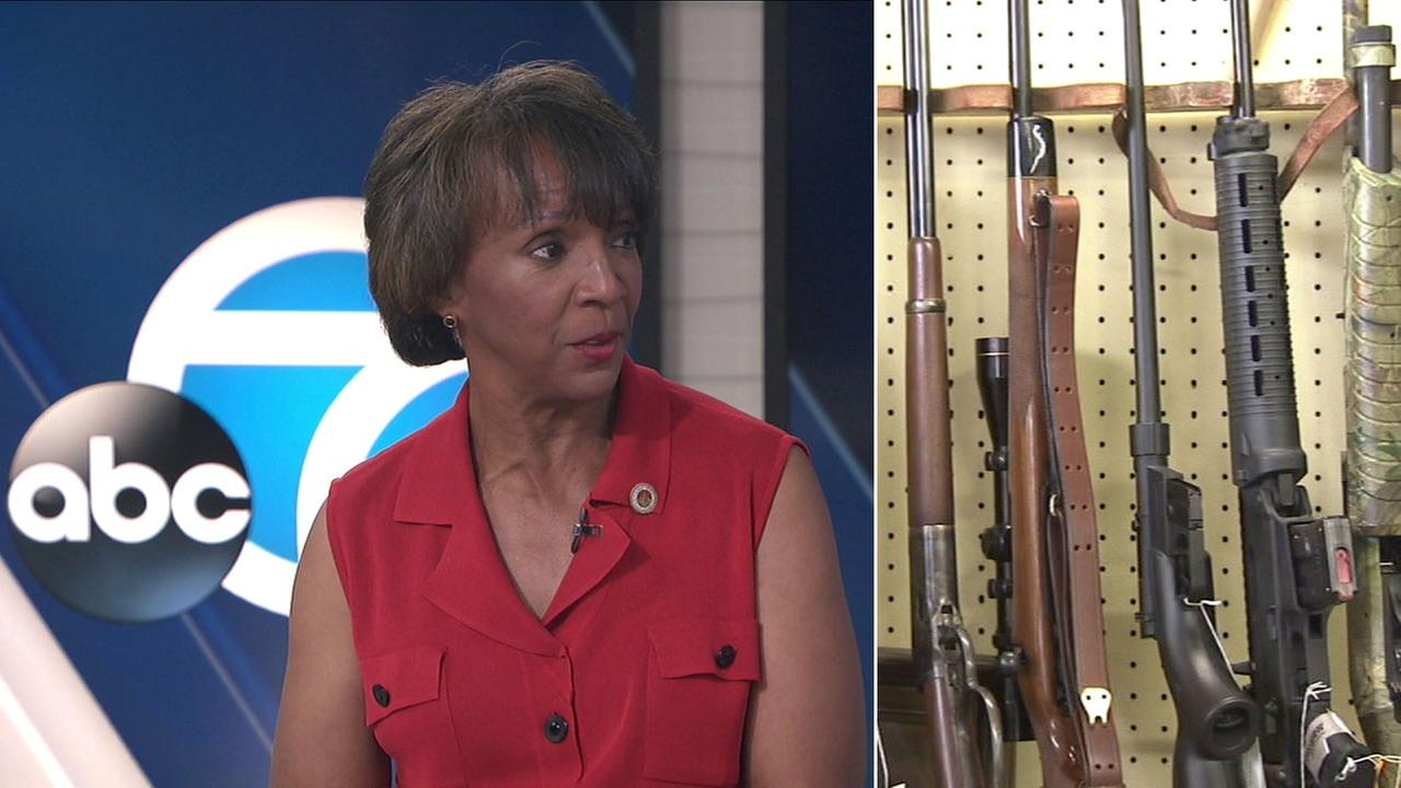 Los Angeles County District Attorney Jackie Lacey is shown in the ABC7 studio during an interview on a domestic violence gun confiscation program.