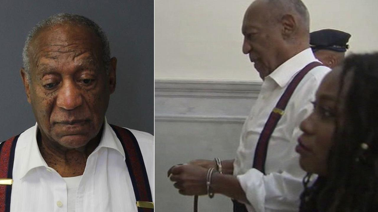 A mugshot of Bill Cosby, 81, is shown in a photo alongside him in handcuffs being led away from a courtroom after his sentencing.