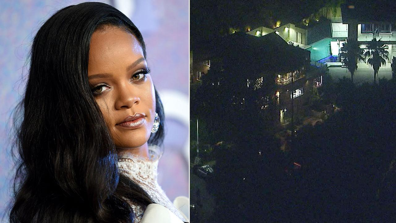 Rihanna at the Diamond Ball at Cipriani Wall Street on Thursday, Sept. 13, 2018 (left). A Hollywood Hills home connected to the singer is seen on Tuesday, Sept. 25, 2018.