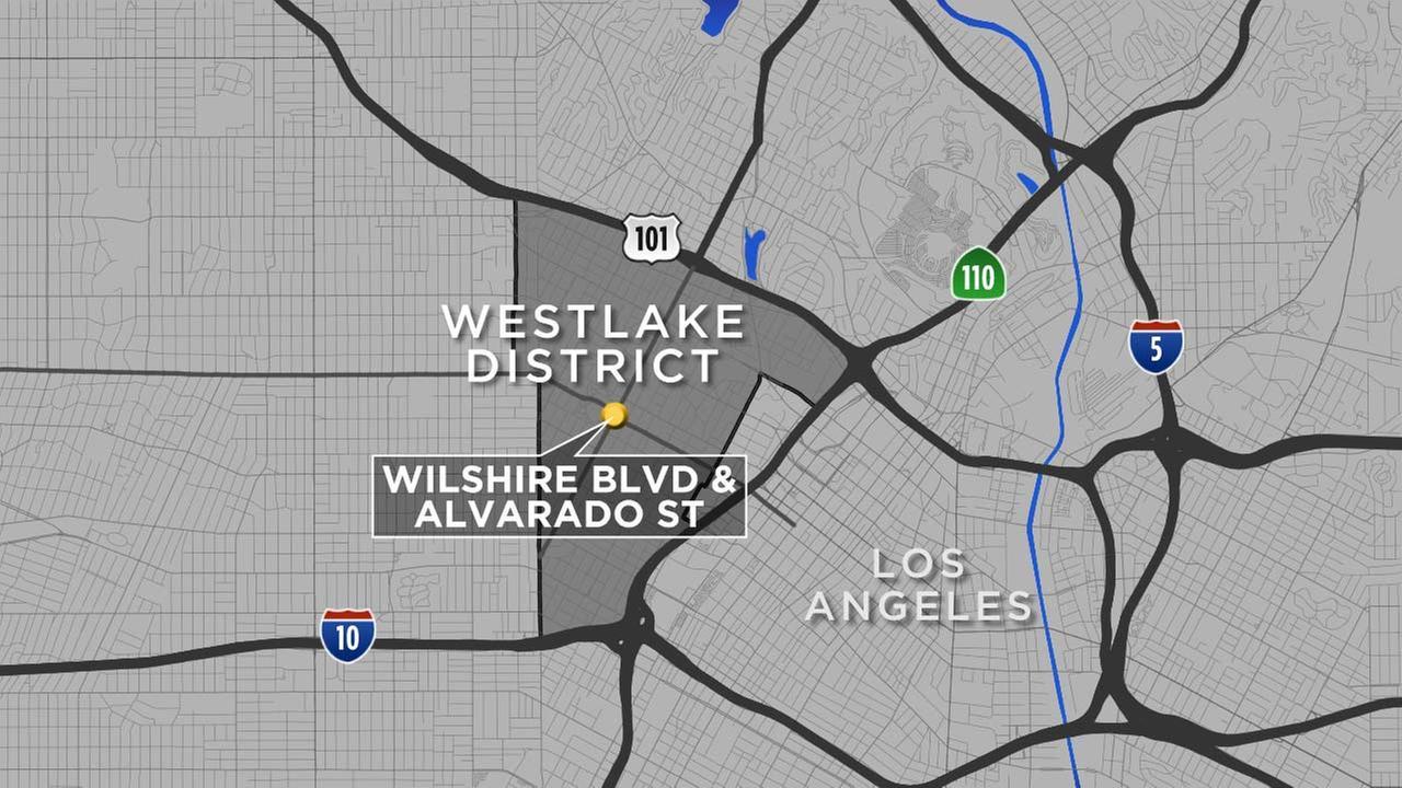 A map shows the area of Alvarado Street and Wilshire Boulevard.