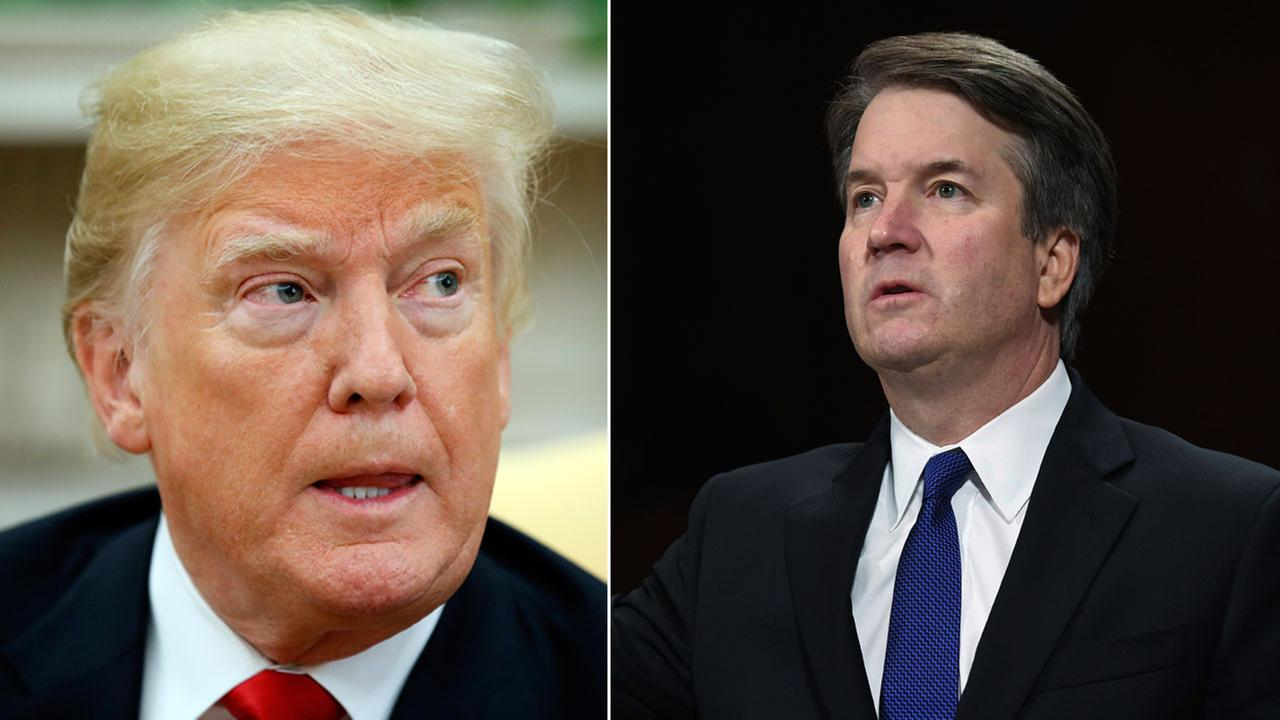 Trump speaks at a meeting in the Oval Office on Sept. 28, 2018. Brett Kavanaugh is sworn in before testifying before the Senate Judiciary Committee on Sept. 27, 2018.