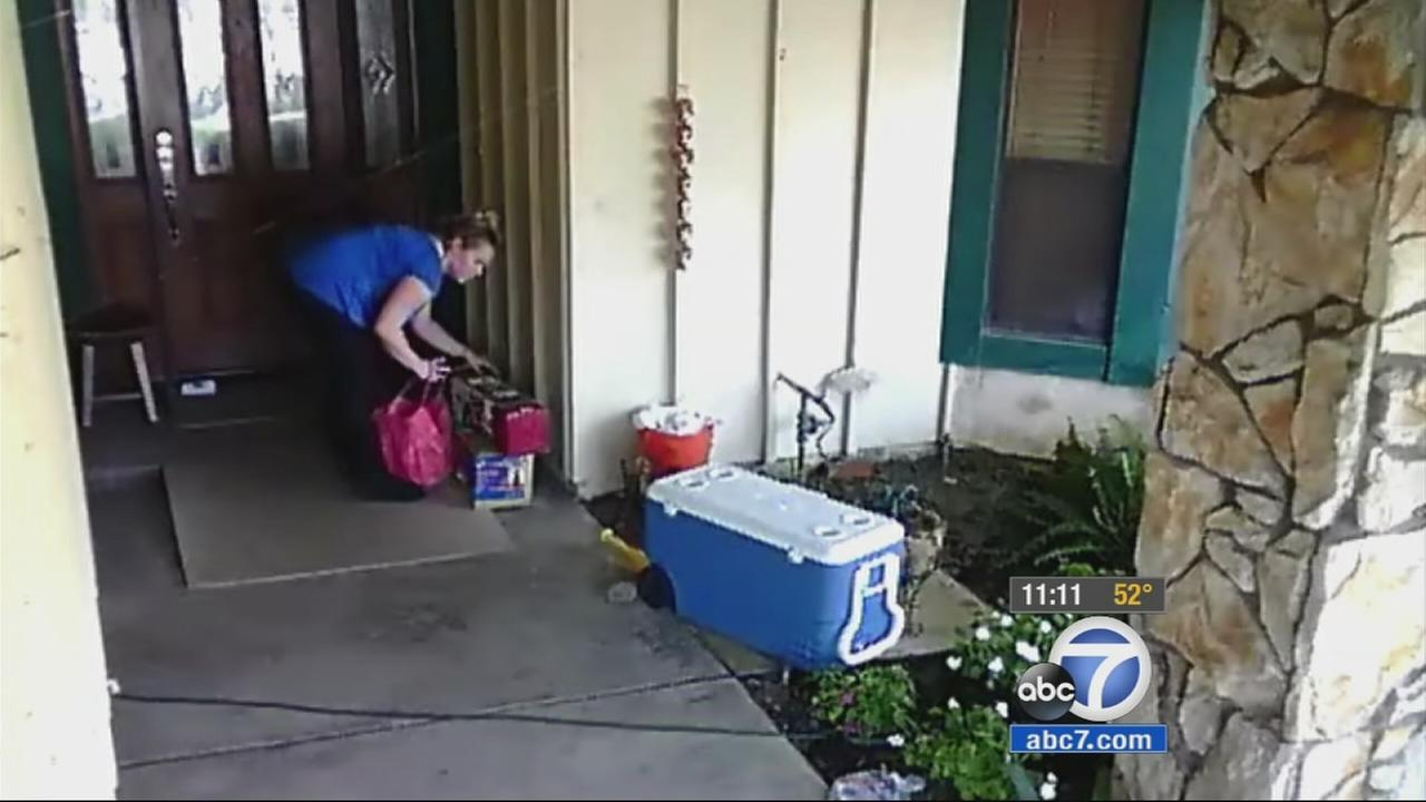 Police are searching for a woman who is suspected of stealing packages left in front of homes in Anaheim Hills and Riverside.