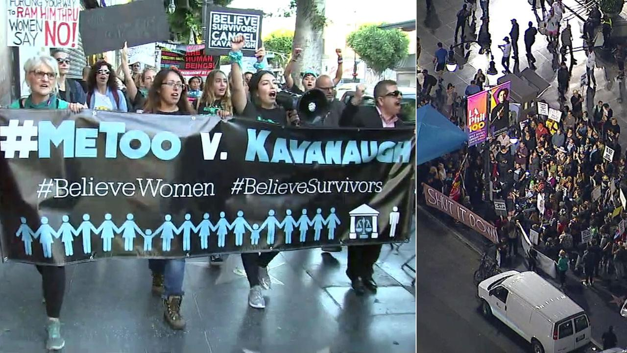 Sexual assault survivors protested U.S. Supreme Court nominee Brett Kavanaugh in the streets of Hollywood on Thursday, Oct. 4, 2018.