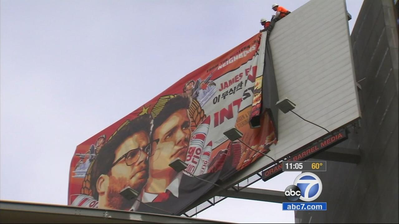 Hollywood billboards for The Interview were taken down Thursday, Dec. 18, 2014.