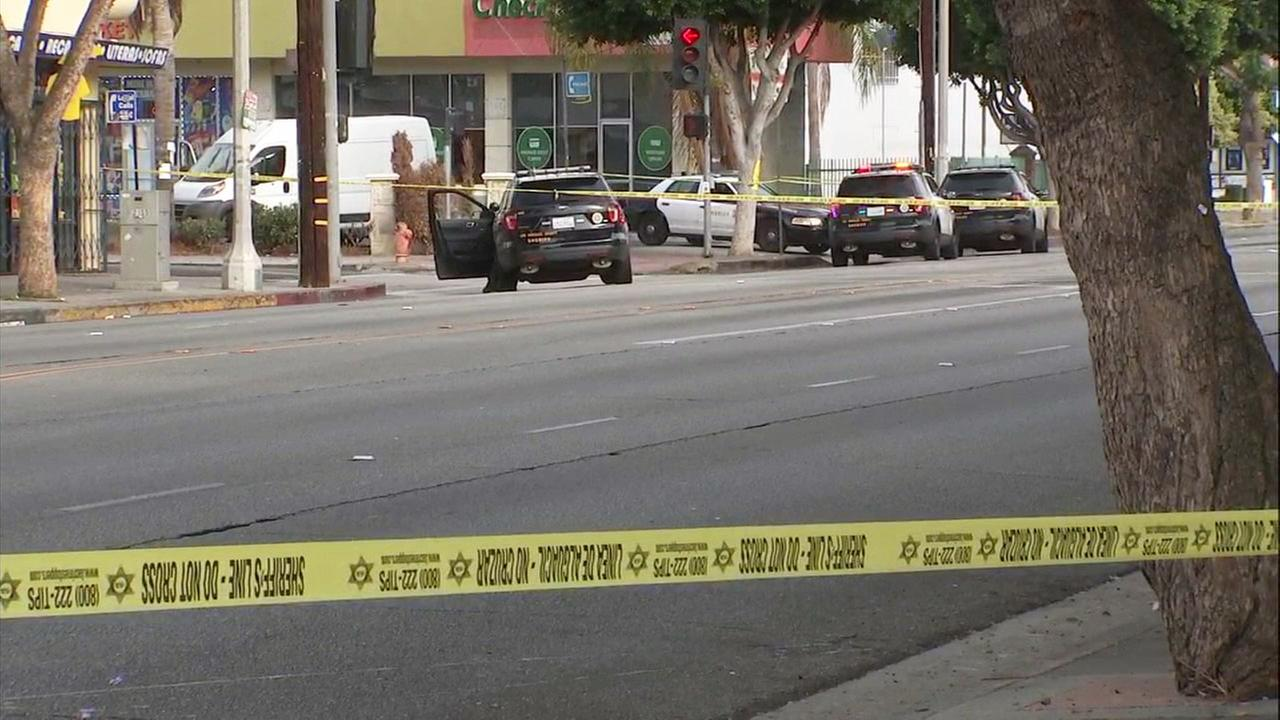 Caution tape at the scene of a deputy-involved shooting in Compton on Sunday, Oct. 7, 2018.