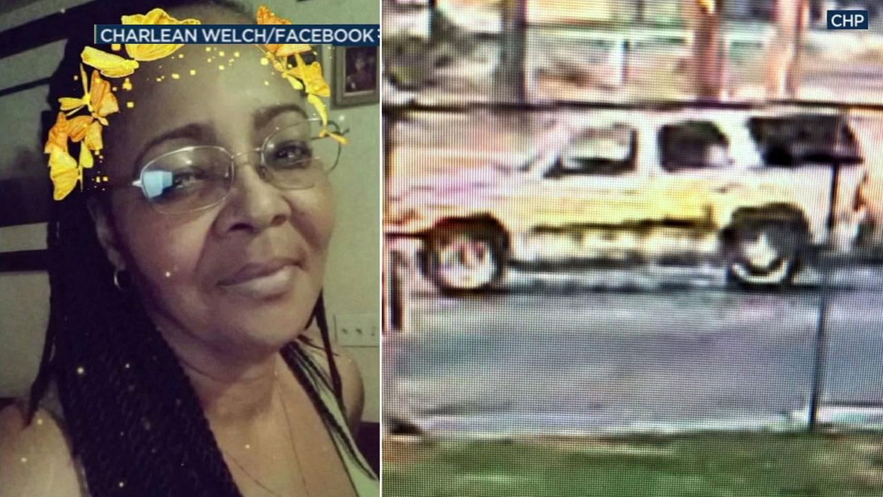 Charlene Welch, a woman arrested in connection to a fatal hit-and-run in San Bernardino, is shown alongside an image of the suspected vehicle she drove.