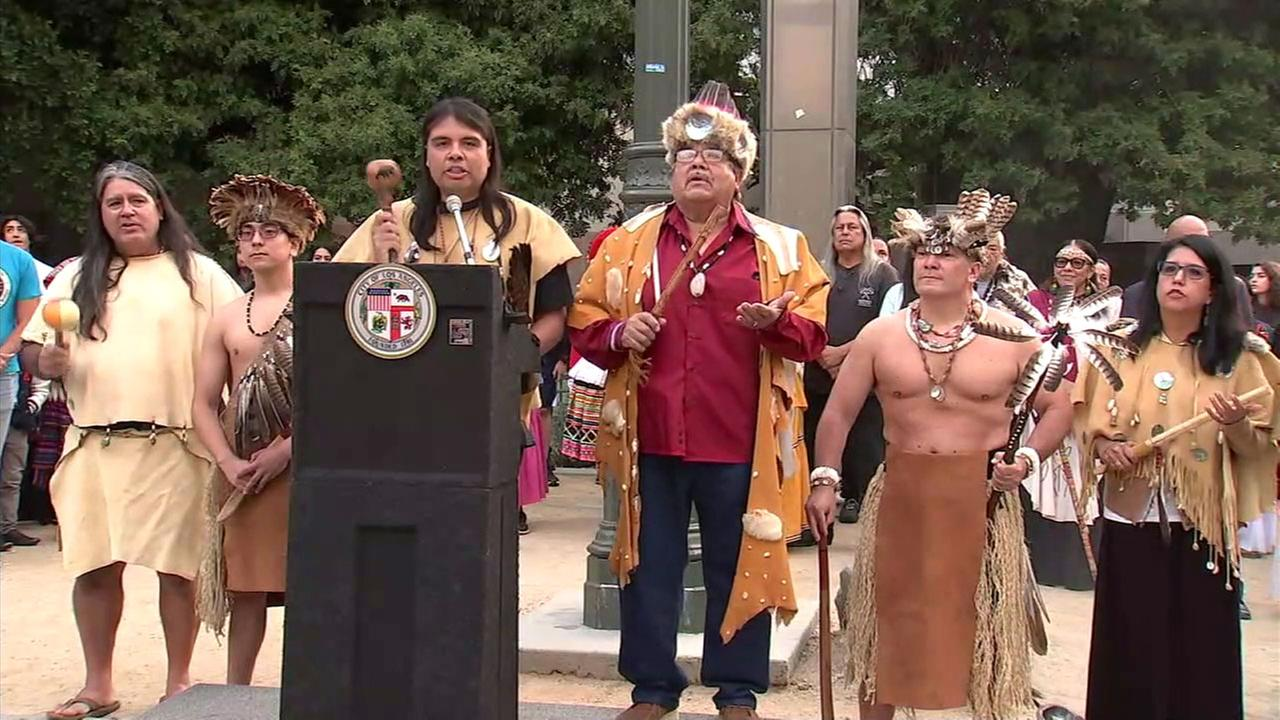 The inaugural Indigenous Peoples Day was celebrated in downtown Los Angeles in front of City Hall.
