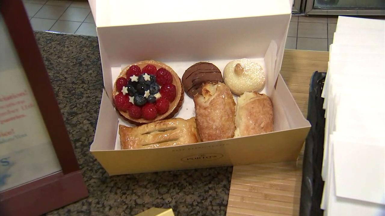 Pastries from Portos Bakery are shown in a photo.