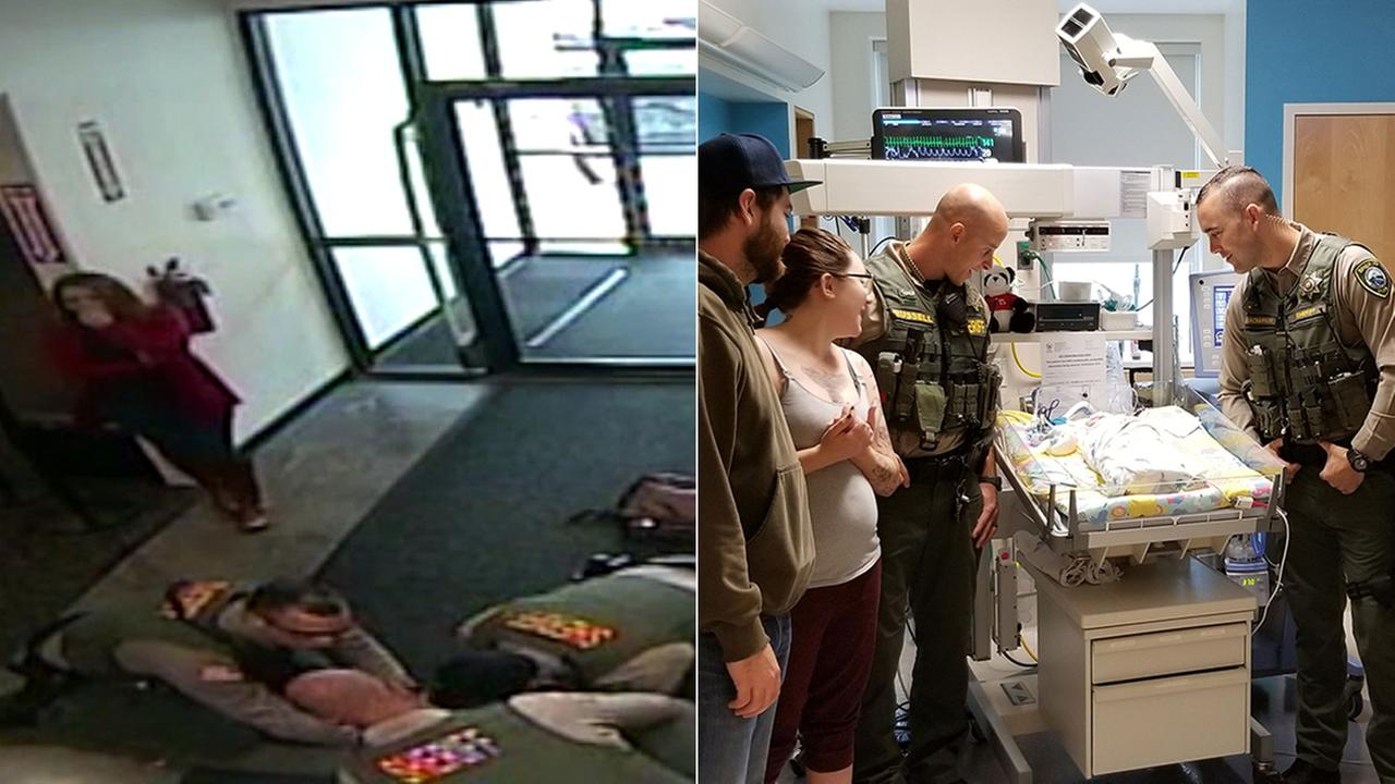 Sheriffs deputies visited a baby girl at an Oregon hospital after performing a dramatic CPR rescue at a shopping mall as her parents looked on.