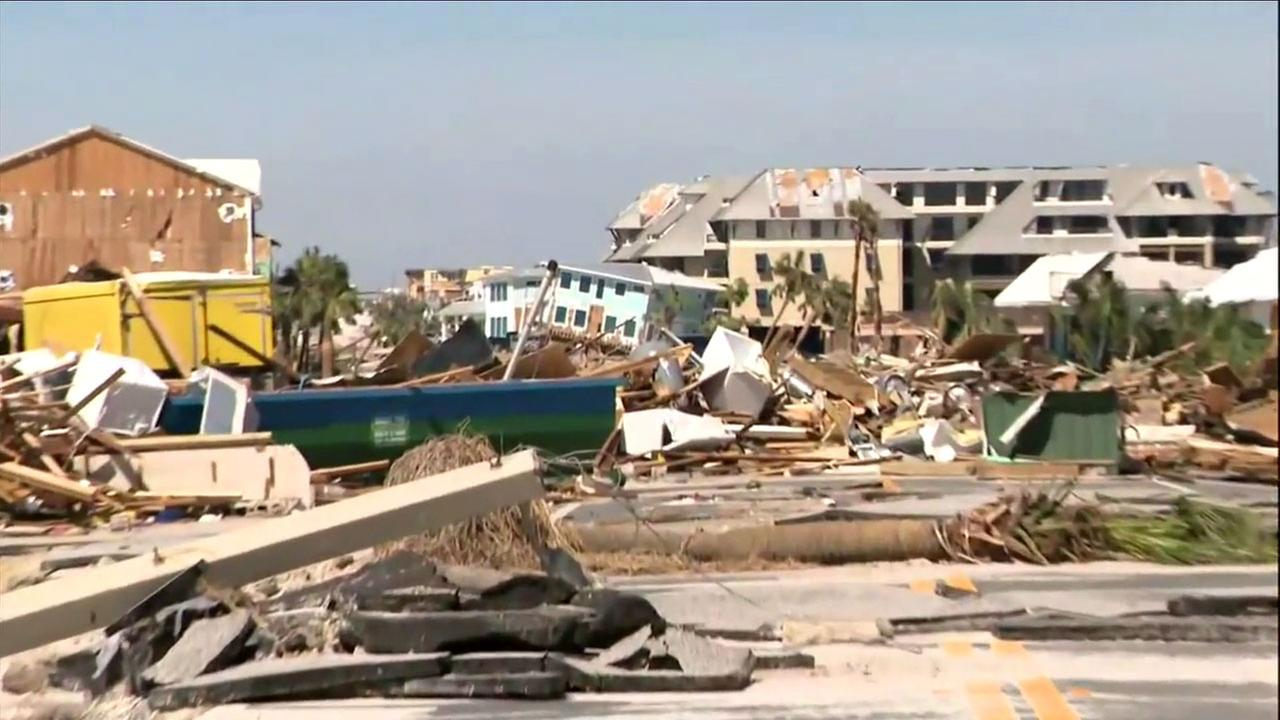 The devastation left behind from Hurricane Michael is shown in Mexico Beach, Florida, one of the hardest hit areas in the state.