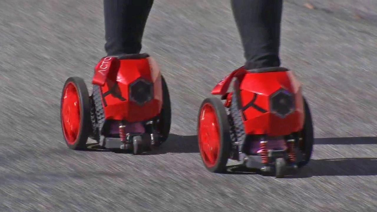 ABC7 reporter Melissa MacBride tries out RocketSkates in this image from December 2014.