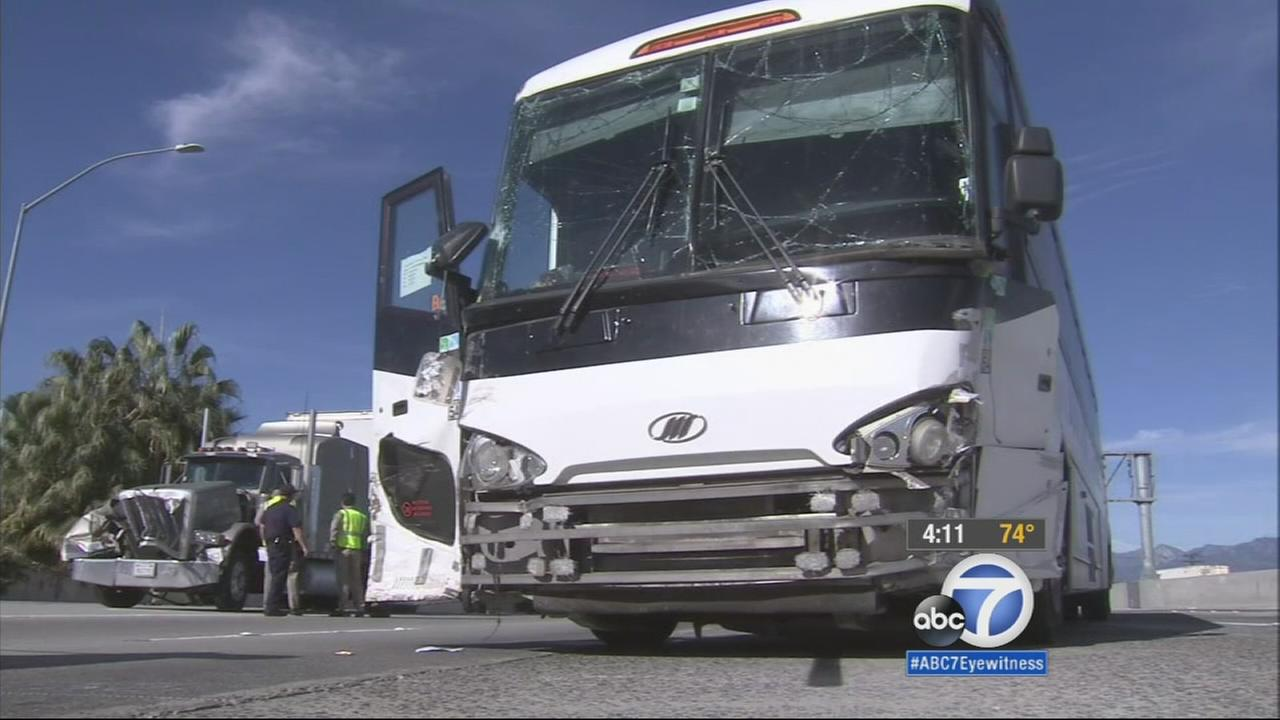 A tour bus was involved in an accident on the eastbound 60 Freeway in Hacienda Heights on Wednesday, Jan. 7, 2015.