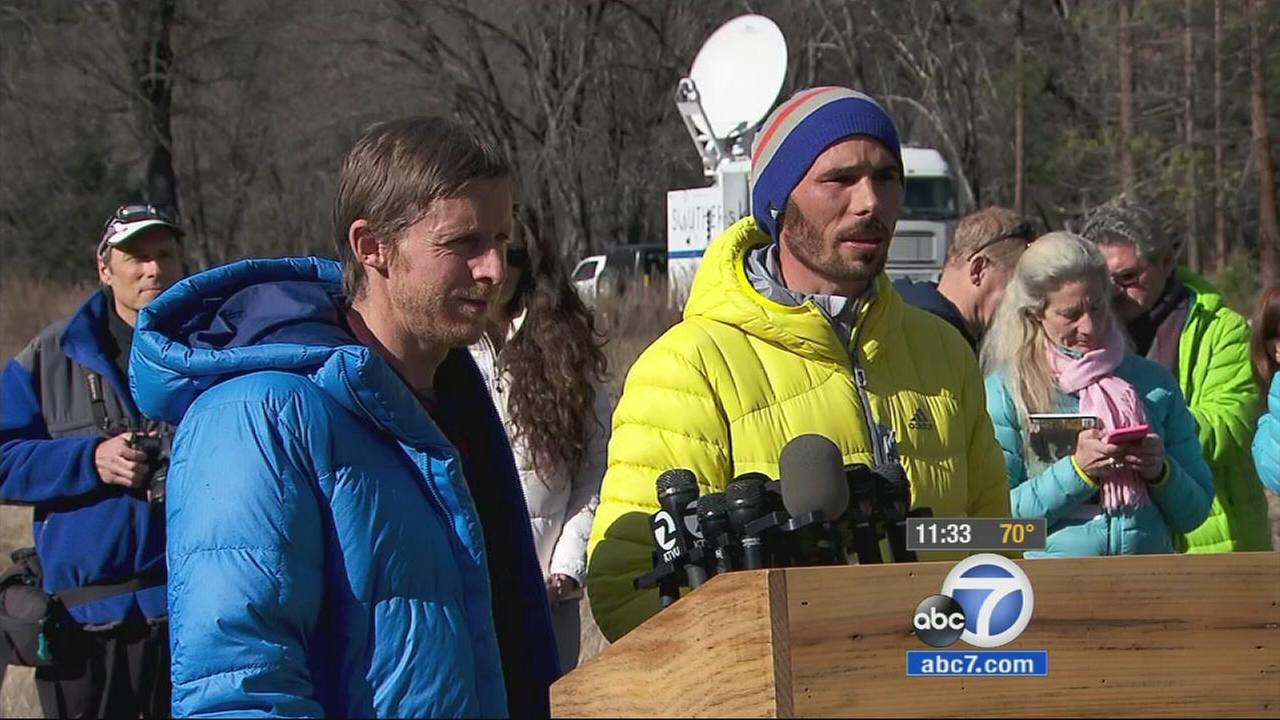 Kevin Jorgeson, 30, of Santa Rosa (right) and Tommy Caldwell, 36, of Estes Park (left) participate in a news conference on Thursday, Jan. 15, 2015.