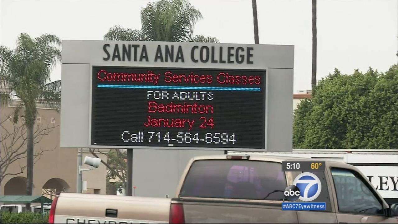 A sign for Santa Ana College is shown in this undated file photo.