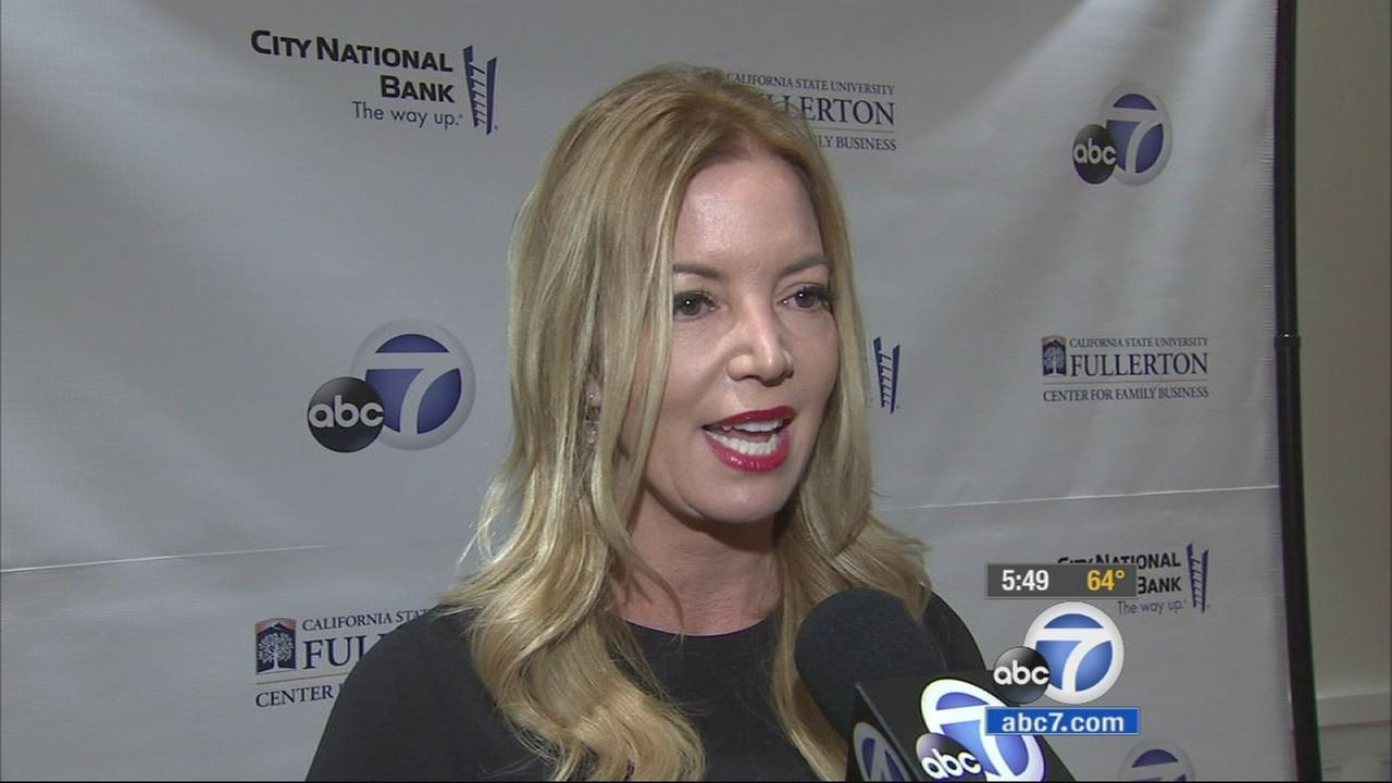 Jeanie Buss speaks to ABC7 at Cal State Fullertons Center for Family Business on Tuesday, Jan. 20, 2015.